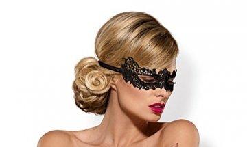 Maske Eye-Patch aus Spitze schwarz mit Satin-Band Augenbinde OneSize - 1