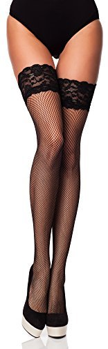 Merry Style Damen Halterlose Netzstrümpfe Brio (Nero, M/L (40-44)) -