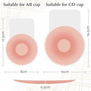 MIMEIMIAI Klebe BH, Nippel Cover Push Up Unsichtbarer Brust Lift Up Adhesive Pasties Aufkleber Trägerloser Rückenfrei Lifting Bra Büstenhalte (Runde, C/D Cup) - 7