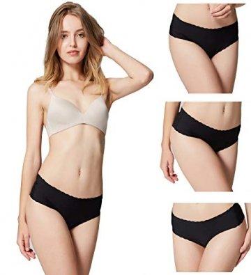 Misolin Damen Slips Nahtlos Unterwäsche Bikinis Taillenslips Seamless Unsichtbare Dehnbare Bequeme Panties Hipsters 6 Pack Schwarz XS - 3