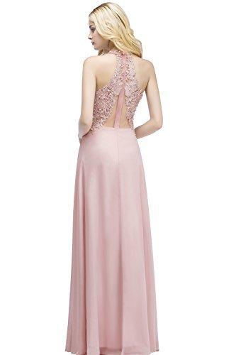 MisShow Damen A Linie Neckholder Chiffon Abendkleid Lang Ballkleid Abschlusskleid Rosa Gr.42 - 2