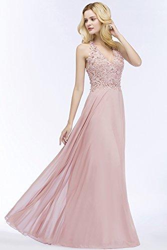 MisShow Damen A Linie Neckholder Chiffon Abendkleid Lang Ballkleid Abschlusskleid Rosa Gr.42 - 3