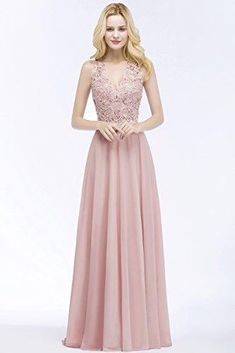 MisShow Damen A Linie Neckholder Chiffon Abendkleid Lang Ballkleid Abschlusskleid Rosa Gr.42 - 5