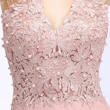 MisShow Damen A Linie Neckholder Chiffon Abendkleid Lang Ballkleid Abschlusskleid Rosa Gr.42 - 6