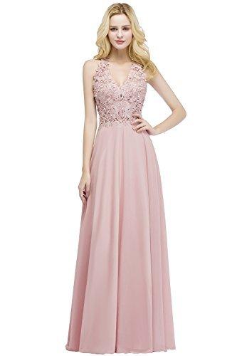 MisShow Damen A Linie Neckholder Chiffon Abendkleid Lang Ballkleid Abschlusskleid Rosa Gr.42 - 1
