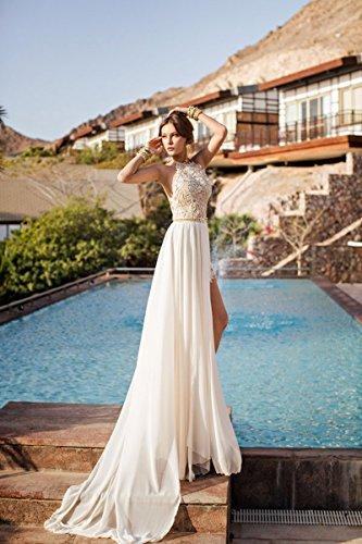 MisShow® Damen Neckholder Rückenfrei ärmellos Abendkleid Brautjungfernkleid Bodenlang Maxikleid Elfenbein 34 - 3