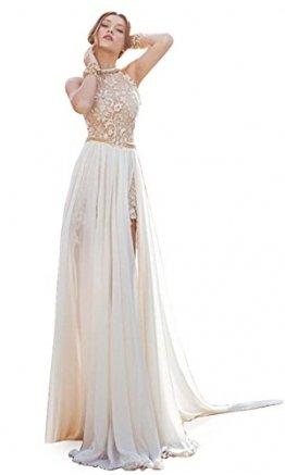 MisShow® Damen Neckholder Rückenfrei ärmellos Abendkleid Brautjungfernkleid Bodenlang Maxikleid Elfenbein 34 - 1