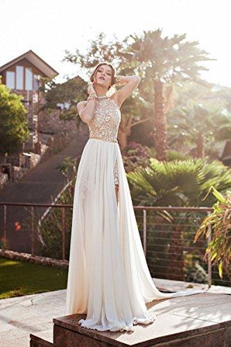 MisShow® Damen Neckholder Rückenfrei ärmellos Abendkleid Brautjungfernkleid Bodenlang Maxikleid Elfenbein 34 - 4