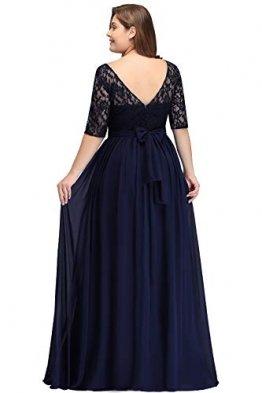 Misshow Damen Übergröße Abendkleid Spitze Chiffon mit Ärmel Elegant Lang Ballkleid , Blau, 44 - 1