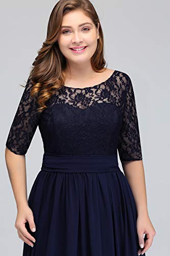 Misshow Damen Übergröße Abendkleid Spitze Chiffon mit Ärmel Elegant Lang Ballkleid , Blau, 44 - 4