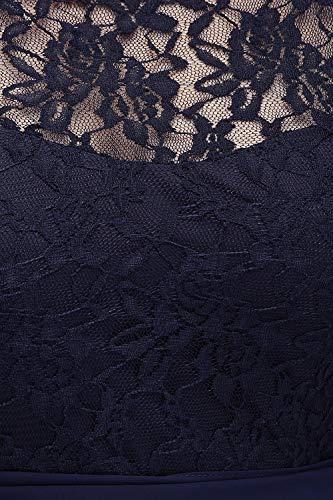Misshow Damen Übergröße Abendkleid Spitze Chiffon mit Ärmel Elegant Lang Ballkleid , Blau, 44 - 5
