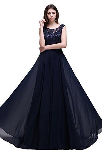 Misshow Damen Übergröße Abendkleid Spitze Chiffon Rückenfrei Elegant Lang Ballkleid Gr.32-52, Marine, 36 - 2