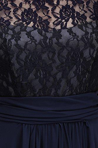 Misshow Damen Übergröße Abendkleid Spitze Chiffon Rückenfrei Elegant Lang Ballkleid Gr.32-52, Marine, 36 - 5