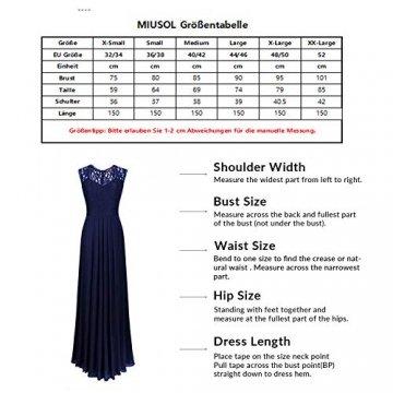 MIUSOL Damen Ärmellos V-Ausschnitt Spitzenkleid Brautjungfer Cocktailkleid Chiffon Faltenrock Langes Kleid Grün L - 3