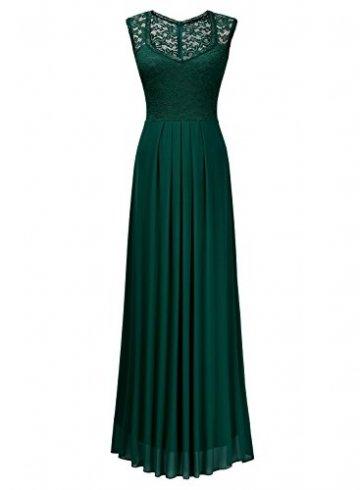 MIUSOL Damen Ärmellos V-Ausschnitt Spitzenkleid Brautjungfer Cocktailkleid Chiffon Faltenrock Langes Kleid Grün L - 4
