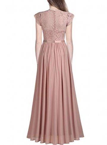 MIUSOL Damen Elegant Ärmellos Rundhals Vintage Spitzenkleid Hochzeit Chiffon Faltenrock Langes Kleid Rosa L - 2