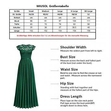 MIUSOL Damen Elegant Ärmellos Rundhals Vintage Spitzenkleid Hochzeit Chiffon Faltenrock Langes Kleid Rosa L - 3