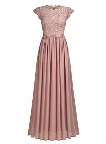 MIUSOL Damen Elegant Ärmellos Rundhals Vintage Spitzenkleid Hochzeit Chiffon Faltenrock Langes Kleid Rosa L - 4