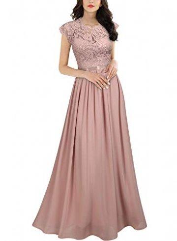 MIUSOL Damen Elegant Ärmellos Rundhals Vintage Spitzenkleid Hochzeit Chiffon Faltenrock Langes Kleid Rosa L - 1