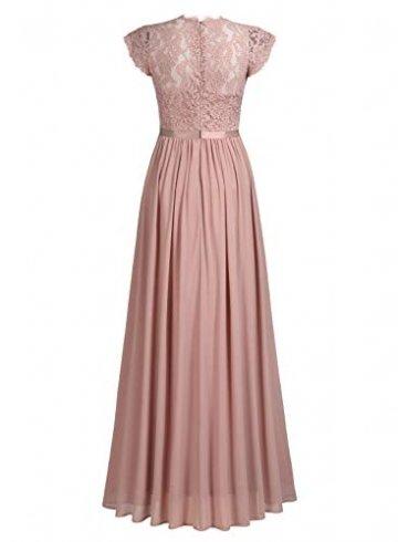 MIUSOL Damen Elegant Ärmellos Rundhals Vintage Spitzenkleid Hochzeit Chiffon Faltenrock Langes Kleid Rosa L - 5