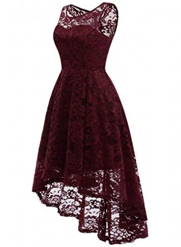 MuaDress MUA6006 Elegant Kleid aus Spitzen Damen Ärmellos Unregelmässig Cocktailkleider Party Ballkleid Burgundy XL - 2