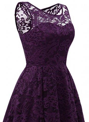 MuaDress MUA6006 Elegant Kleid aus Spitzen Damen Ärmellos Unregelmässig Cocktailkleider Party Ballkleid Grape L - 6