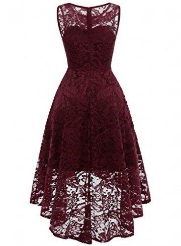 MuaDress MUA6006 Elegant Kleid aus Spitzen Damen Ärmellos Unregelmässig Cocktailkleider Party Ballkleid Burgundy XL - 4