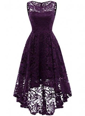 MuaDress MUA6006 Elegant Kleid aus Spitzen Damen Ärmellos Unregelmässig Cocktailkleider Party Ballkleid Grape L - 1