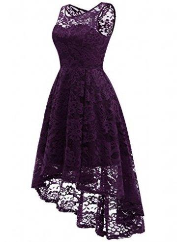 MuaDress MUA6006 Elegant Kleid aus Spitzen Damen Ärmellos Unregelmässig Cocktailkleider Party Ballkleid Grape L - 2