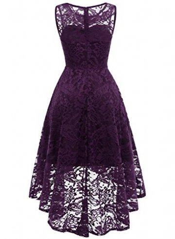 MuaDress MUA6006 Elegant Kleid aus Spitzen Damen Ärmellos Unregelmässig Cocktailkleider Party Ballkleid Grape L - 4
