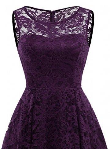 MuaDress MUA6006 Elegant Kleid aus Spitzen Damen Ärmellos Unregelmässig Cocktailkleider Party Ballkleid Grape L - 5
