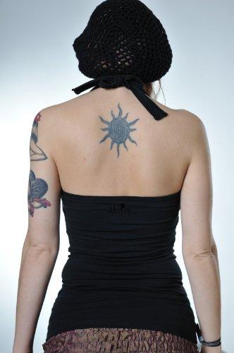 Neckholder Top Damen/Triangel Shirt Frauen schwarz mit Aufdruck Schmetterlings Elfe schwarz M, von 3 Elfen,Tanktop - 2