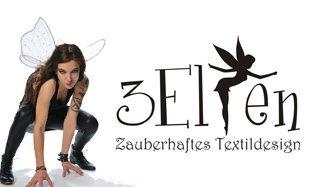 Neckholder Top Damen/Triangel Shirt Frauen schwarz mit Aufdruck Schmetterlings Elfe schwarz M, von 3 Elfen,Tanktop - 3