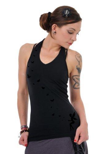 Neckholder Top Damen/Triangel Shirt Frauen schwarz mit Aufdruck Schmetterlings Elfe schwarz M, von 3 Elfen,Tanktop - 1