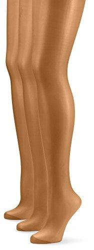 Nur Die Damen Strumpfhose 726969/3er Pack Seidenfein, 15 DEN, Gr. 48 (Herstellergröße: L (44-48)), braun (bronze 213) -