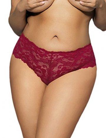 ohyeahlady Damen Übergröße Floralen Spitze Unterwäsche Unterhosen Transparente Panties Hipsters- Gr. Medium=EUR 36-38, Rot - 3