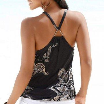 Oksea Neckholder Oberteil mit Print Neckholder Tops Damen Frauen ärmellose Tops Camisole Strappy Beach Style Weste T Shirt Bluse - 2
