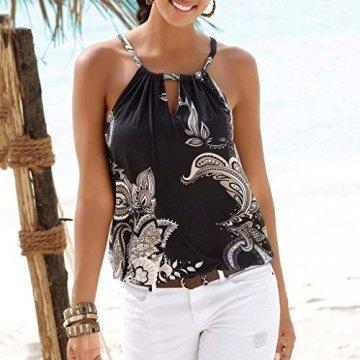 Oksea Neckholder Oberteil mit Print Neckholder Tops Damen Frauen ärmellose Tops Camisole Strappy Beach Style Weste T Shirt Bluse - 3