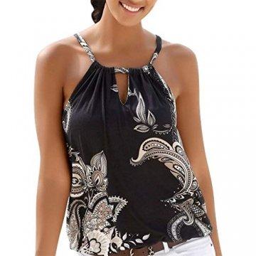 Oksea Neckholder Oberteil mit Print Neckholder Tops Damen Frauen ärmellose Tops Camisole Strappy Beach Style Weste T Shirt Bluse - 1