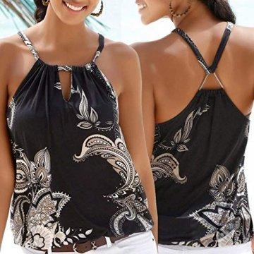 Oksea Neckholder Oberteil mit Print Neckholder Tops Damen Frauen ärmellose Tops Camisole Strappy Beach Style Weste T Shirt Bluse - 5