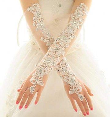 PANAX Damen extra lang Handschuhe aus elastisch Fine Netze Spitze Diamant, Perle Beige - Stulpen in Einheitsgröße für Frauen, Hochzeiten, Opern, Veranstaltungen, Fasching, Karneval, Tanzen, Halloween - 2