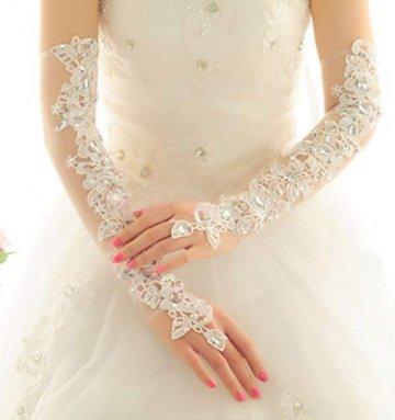PANAX Damen extra lang Handschuhe aus elastisch Fine Netze Spitze Diamant, Perle Beige - Stulpen in Einheitsgröße für Frauen, Hochzeiten, Opern, Veranstaltungen, Fasching, Karneval, Tanzen, Halloween - 3