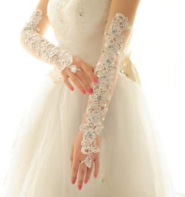PANAX Damen extra lang Handschuhe aus elastisch Fine Netze Spitze Diamant, Perle Beige - Stulpen in Einheitsgröße für Frauen, Hochzeiten, Opern, Veranstaltungen, Fasching, Karneval, Tanzen, Halloween - 4