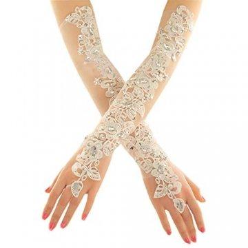 PANAX Damen extra lang Handschuhe aus elastisch Fine Netze Spitze Diamant, Perle Beige - Stulpen in Einheitsgröße für Frauen, Hochzeiten, Opern, Veranstaltungen, Fasching, Karneval, Tanzen, Halloween - 1