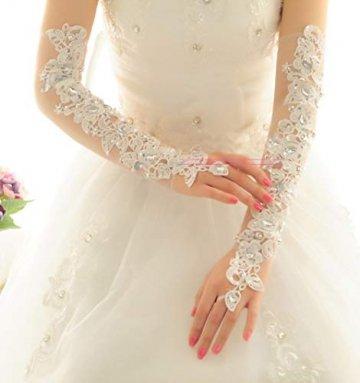 PANAX Damen extra lang Handschuhe aus elastisch Fine Netze Spitze Diamant, Perle Beige - Stulpen in Einheitsgröße für Frauen, Hochzeiten, Opern, Veranstaltungen, Fasching, Karneval, Tanzen, Halloween - 5