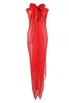 PB-SOAR XXL Damen Einfarbig Unifarben Sarong Pareo Strandtuch Wickelrock Wickeltuch, weich und leicht (Rot) - 1