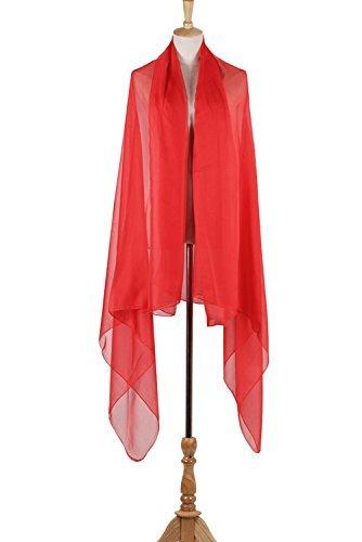 PB-SOAR XXL Damen Einfarbig Unifarben Sarong Pareo Strandtuch Wickelrock Wickeltuch, weich und leicht (Rot) - 4