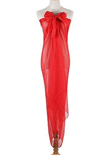 PB-SOAR XXL Damen Einfarbig Unifarben Sarong Pareo Strandtuch Wickelrock Wickeltuch, weich und leicht (Rot) - 6