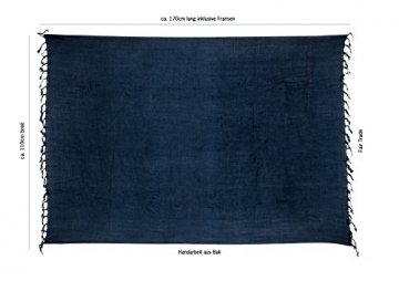 Premium Sarong Pareo Wickelrock Strandtuch Lunghi Dhoti Schlicht Blickdicht Blau PDB - 3