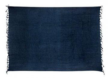 Premium Sarong Pareo Wickelrock Strandtuch Lunghi Dhoti Schlicht Blickdicht Blau PDB - 1